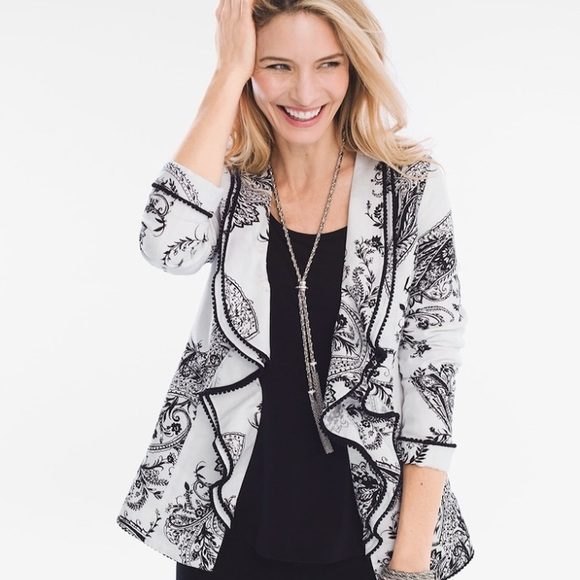 Chico's Jackets & Blazers - Chico's • Black & White Printed Jacket